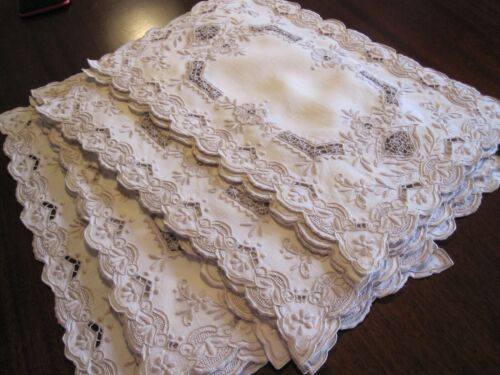 SET 12 VINTAGE ANTIQUE PLACEMATS VERY FINE EMBROIDERED IVORY LINEN & LACE INSERT