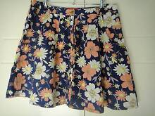 NEW SIZE 12 COTTON SKIRT NAVY WITH CORAL & CREAM FLOWERS Collingwood Park Ipswich City Preview