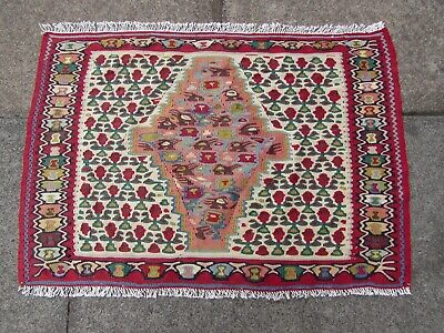 Old Traditional Hand Made Persian Oriental Wool Red Blue Small Kilim 54x80cm