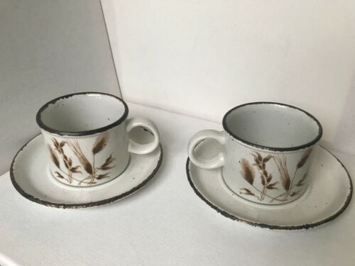 Vintage Wedgewood Stonehenge Midwinter Wheat Set of 2 Cups & Saucers Excellent