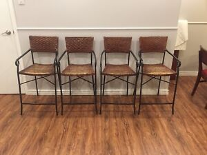 ** Wrought iron and wicker bar stools, cheap! **