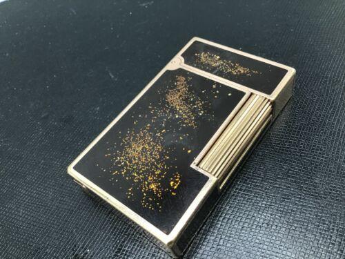 ST Dupont Ligne 2 Gold Dust Black Urushi Lacquer Cigar Single-flame c1990s