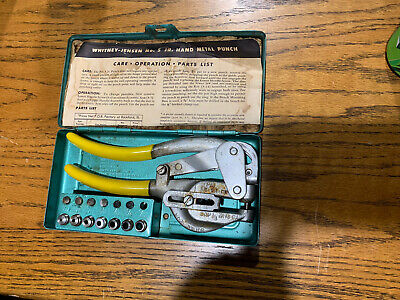 Whitney-jensen Punch No.5 Jr. Metal Hand Hole Punching Tool Original Casemanual