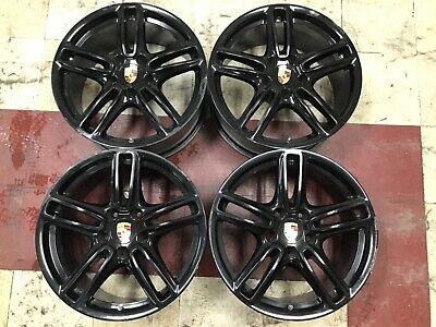 "19"" Porsche Panamera Rims 10-13 Factory Black Staggered Wheels OEM #67386 #67388"