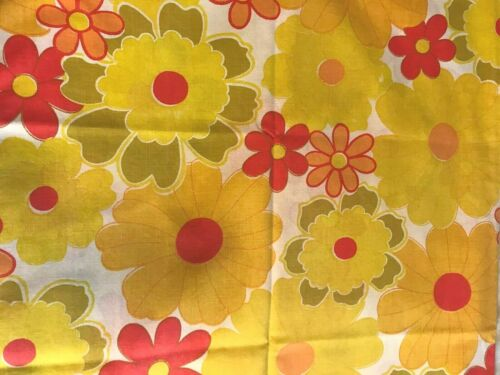 1960s Wamsutta top sheet, fitted sheet yellow white orange flower power AS IS