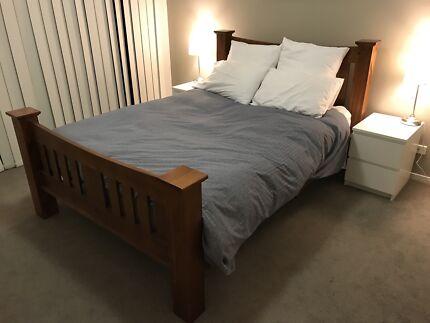 Solid Dark Wood Bed Frame