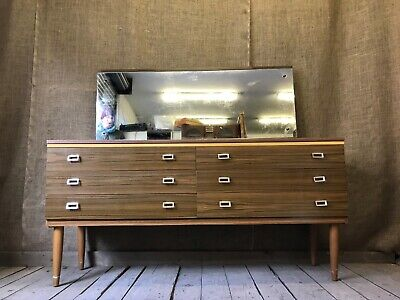 VINTAGE RETRO MID CENTURY DRESSING TABLE WITH MIRROR