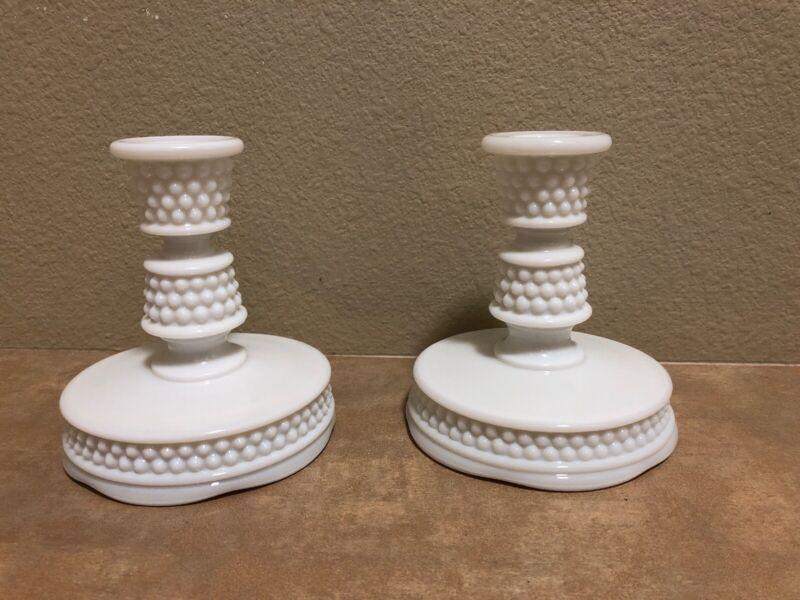 "Vintage Westmoreland Hobnail Milk Glass Candlestick Holders Set of 2 White 5"""
