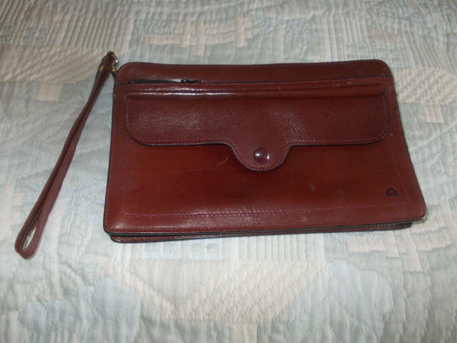 Herren Tasche Hand-Gelenktasche Leder braun rot * Fiocchi Italy * guter Zustand