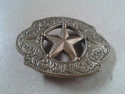 American Sheriff Star Design (Cowboy Blue Brass Rock & Roll Elvis) Belt Buckle, used for sale  Shipping to Nigeria