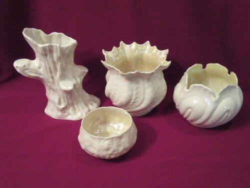 Lot of 4 Vtg Belleek Irish Porcelain Vases, Made in Ireland, Tree Stump, Neptune