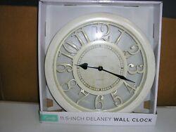 Equity by La Crosse 20857 11.5' Delaney Floating Dial Quartz Clock, Antique Whit