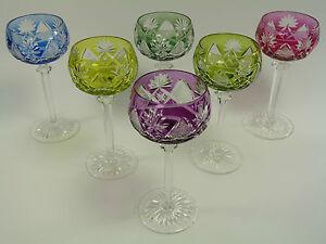 VAL St LAMBERT Crystal - BERNCASTEL Cut - Coloured Hock Glasses - Set of 6 (b)