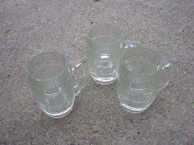 3 pcs Vintage Heavy Glass Barrel Drinking Glass DAD'S Root Beer
