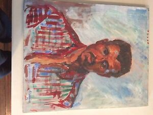 Painting of man in red shirt, by Augusto Corvino