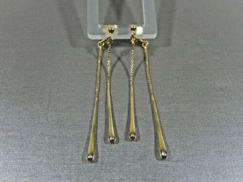 UNIQUE GOLD 925 STERLING SILVER  FRONT & BACK OF EAR DANGLES PIERCED EARRINGS