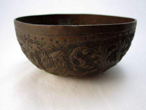 Hindu Saraswati Copper Bowl Red Deer Goddess Hand Tooled Antique Repousse