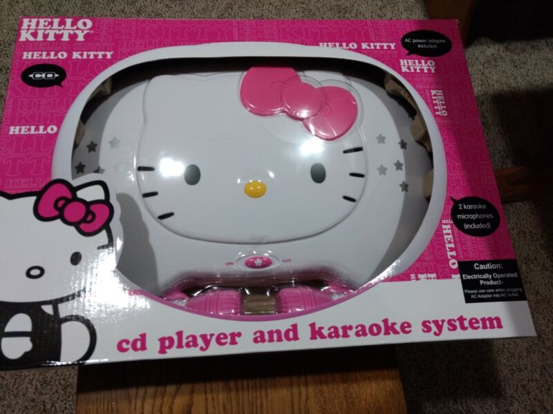Hello Kitty KT2003 CD PLayer & Karaoke System AC Adapter 2 microphones NEW