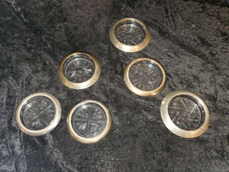 Set of 6 Silver plated and Glass Vintage Ashtrays Leonard Italy