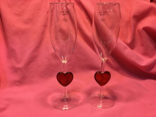 Set of 2 Valentine's Day Red Heart Champagne 🥂 Glasses