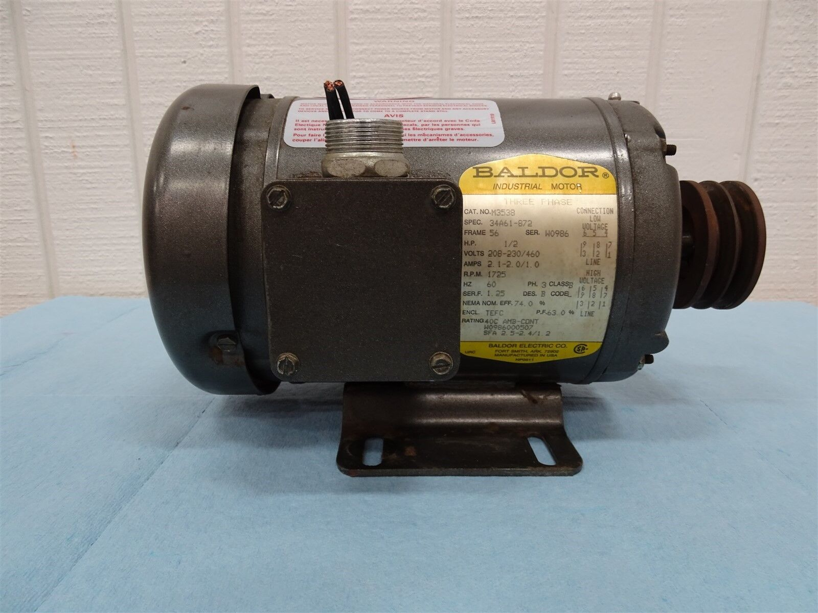 Baldor M3538 Industrial Motor 1/2HP 1725RPM Frame: 56 208-230/460V 60HZ 3PH