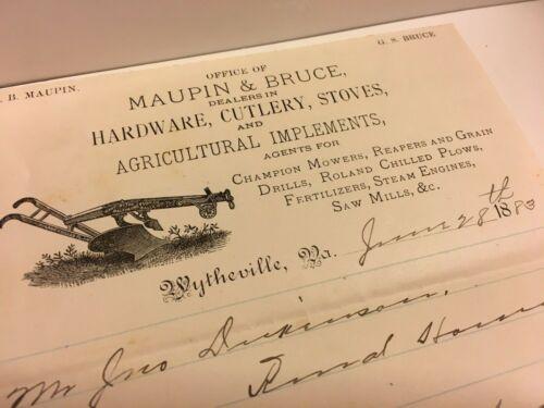 RARE 1883 WYTHEVILLE VIRGINIA MAUPIN & BRUCE STOVE HARDWARE AGRICULTURE BILLHEAD