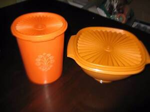 VINTAGE Retro Tupperware SERVALIER PRESS SEAL bowl and canister Haberfield Ashfield Area Preview