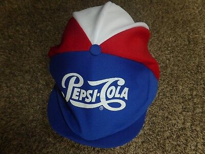 Vtg Pepsi Cola Red White Blue Snapback Newsboy Paperboy Made in USA Cap Hat