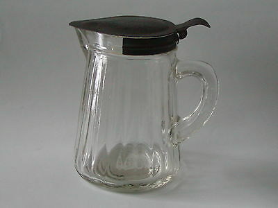 Antique Primitive Early Ribbed Glass Pouring Syrup Pitcher with Tin Lid