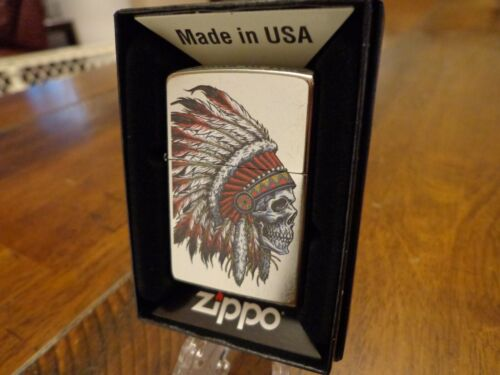 NATIVE AMERICAN CHIEF SKULL HEADDRESS INDIAN ZIPPO LIGHTER MINT IN BOX