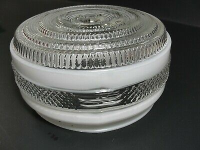 """Vintage MCM Textured Light Fixture Kitchen Bathroom Ceiling Frosted Glass 6"""""""