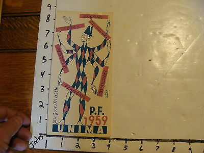 Vintage MARIONETTE Paper: P. F. 1959 UNIMA card 2 color SIGNED IN PENCIL