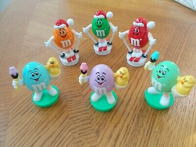 "Vintage 1991 & 1994- 6Pc. M & M Christmas & Easter Ornaments 3"""