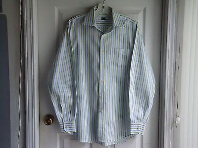 Paul Smith Men's White/Green Stripes Dress Shirt Italy - sz. 39/15.5