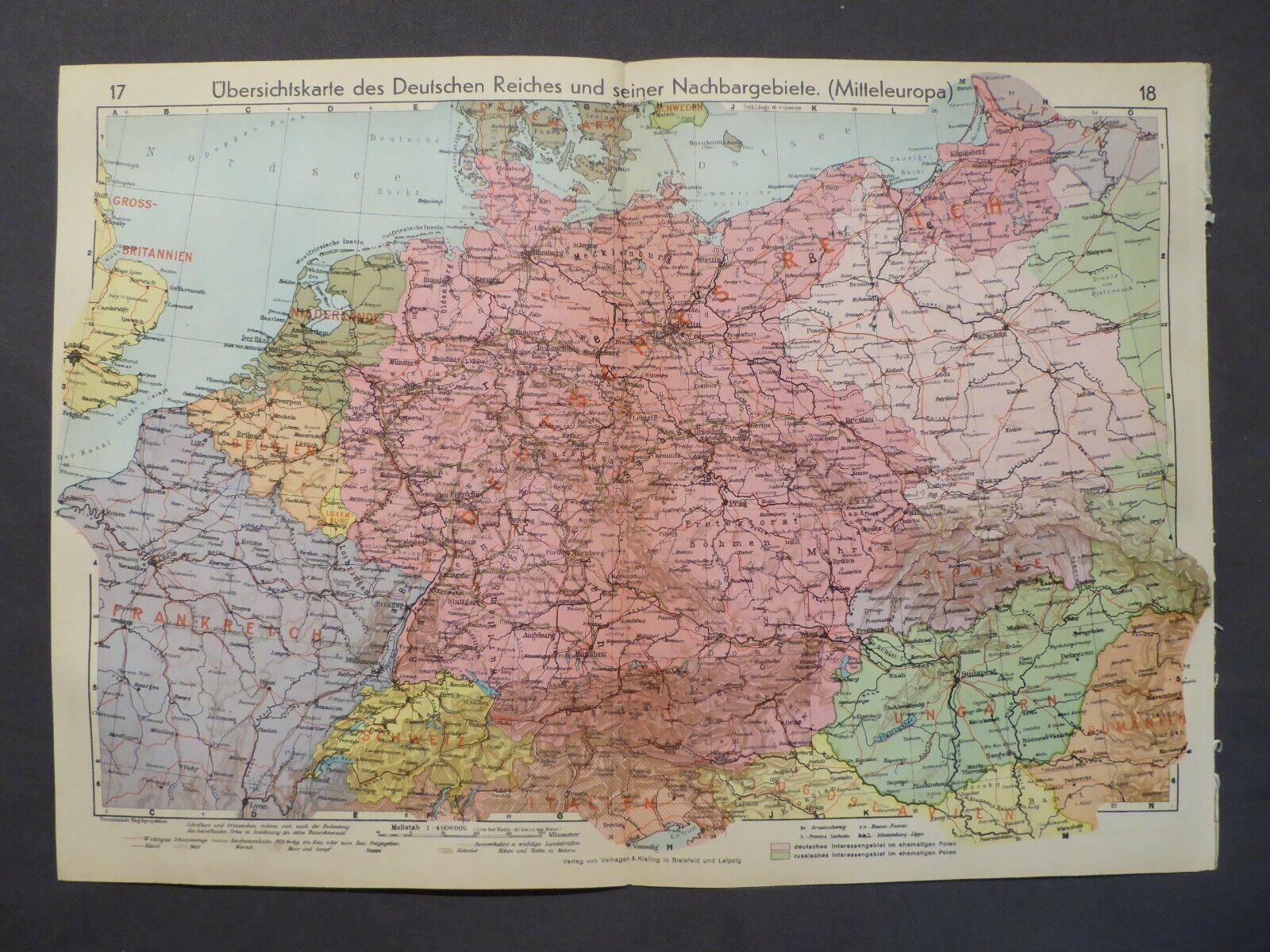 Landkarte des Deutschen Reiches und Nachbargebiete, Velhagen Klasing 1939