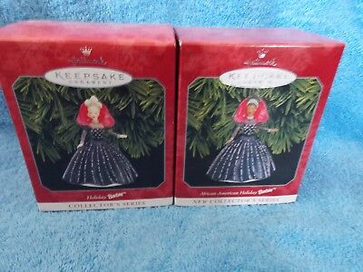 Lot Of 2 New 1998 Holiday Barbie Doll Ornament African American & Caucasian