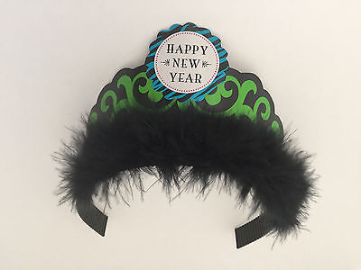 6 Tiares New Year's Eve Black Marabou Feather Holiday Party Favor Paper