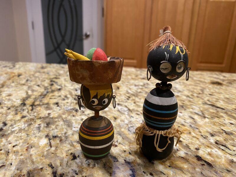 Vintage Wooden African Cultural Black Dolls / Figurines