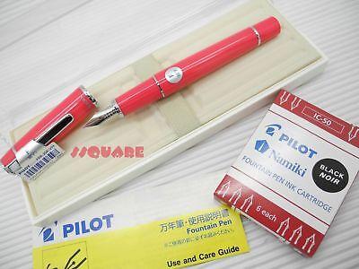 (Tracking No.) Pilot FPR-3SR Prera Fine Nib Fountain Pen Pink +6 Ink Cartridges