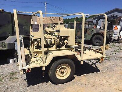 Military Mep-002a 5kw 60hz Diesel Generator Wtrailer 120-240 1ph 208 3ph