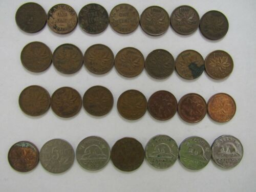 Lot of 28 Different Old or Obsolete Canada Coins - 1920 to 2001 - Circulated
