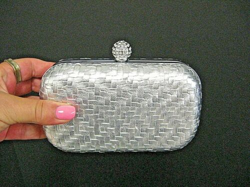 Vintage Silver formal clutch purse with rhinestones and shoulder strap