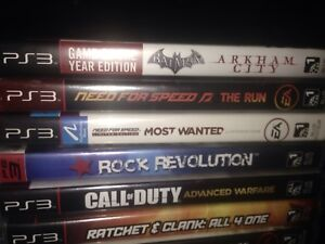 PS3 and  games including rock bank guitar.
