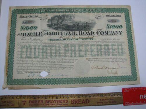 Mobile and Ohio Rail Road Company $1,000 Bond 1881 Fourth Preferred Train Vignet