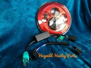 Red.  LED Headlight.     For Your Harley Davidson.