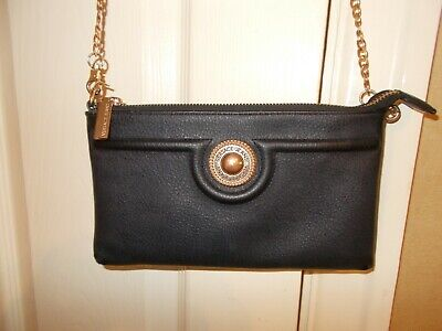 Genuine Versace Jeans Bag Black Gold Gilt Detachable Chain Clutch Cross Body