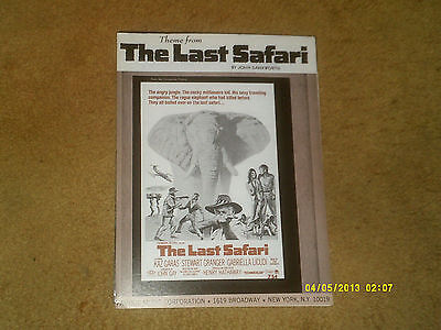 THE LAST SAFARI sheet music from film 1967 5 pages (VG+ shape)