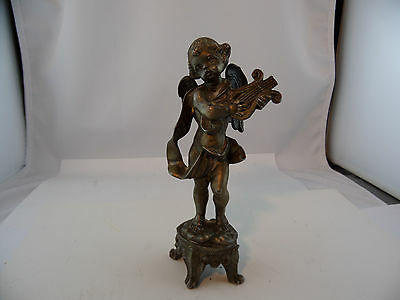 Bronze? Zinn? Figur Engel mit Harfe Jugendstil aus Adelsbesitz Nr.62