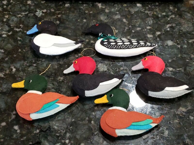6 Felt Vintage Christmas Ornaments Ducks