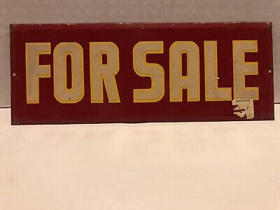 """Vintage Reflective Tin For Sale Sign 9.25"""" X 3.5"""""""